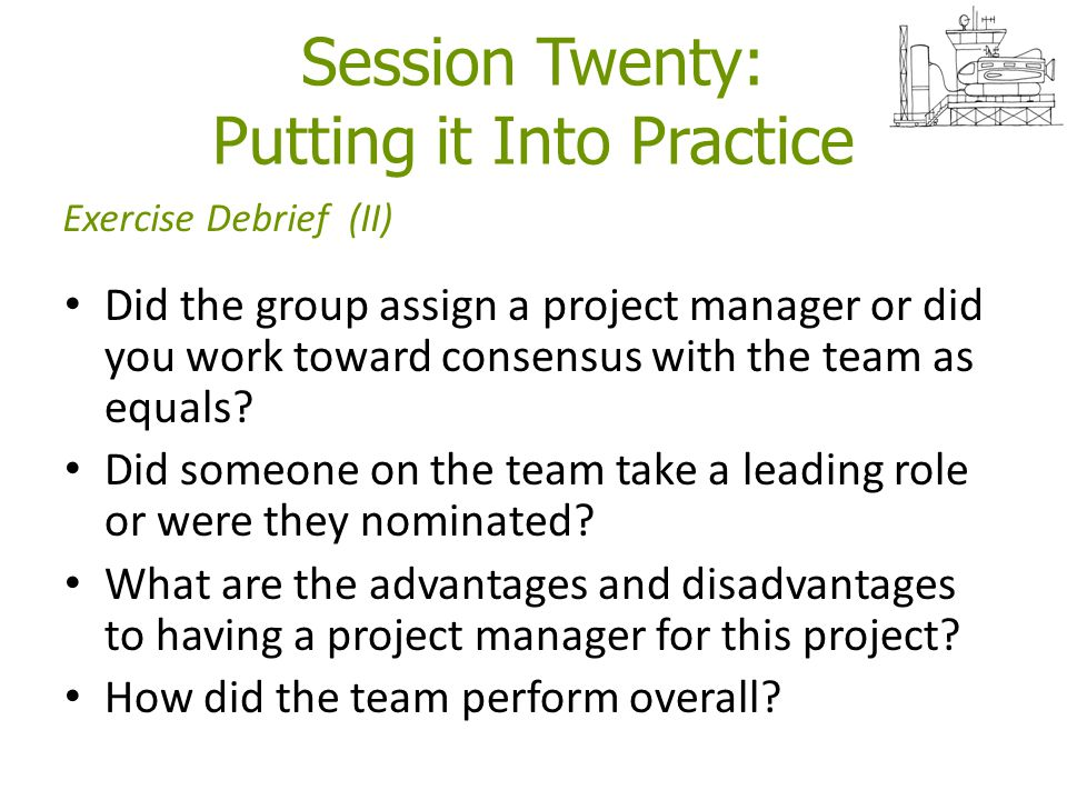 Session Twenty: Putting it Into Practice Did the group assign a project manager or did you work toward consensus with the team as equals? Did someone