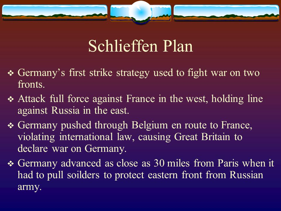 Schlieffen Plan  Germany's first strike strategy used to fight war on two fronts.