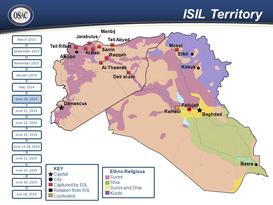 ISIL Territory Aleppo Damascus Raqqah Sarrin Al-Bab Tell Rifaat Jarabulus Erbil Kirkuk Baghdad Basra Tell Abyad Al-Thawrah Manbij Fallujah Ramadi Deir al-zor Mosul March 2013September 2013November 2013January 2014May 2014June 10, 2014June 11, 2014June 12, 2014June 13, 2014 June 13-18, 2014 June 21, 2014June 23, 2014June 30, 2014July 18, 2014 Ethno-Religious Sunni Shia Sunni and Shia Kurds KEY Capital City Captured by ISIL Retaken from ISIL Contested
