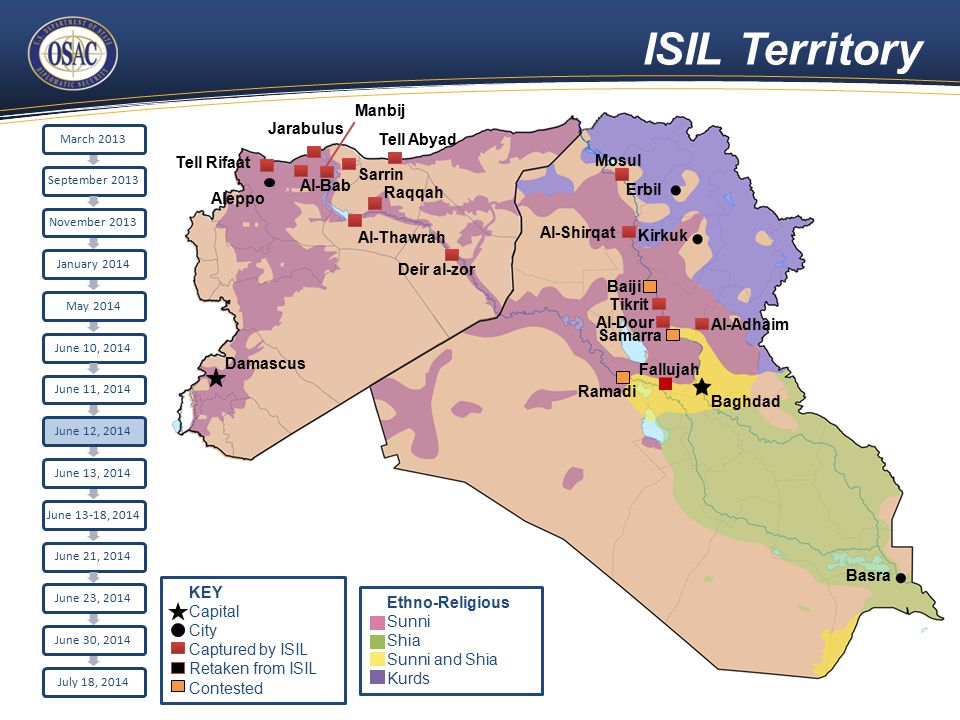 ISIL Territory Aleppo Damascus Raqqah Sarrin Al-Bab Tell Rifaat Jarabulus Erbil Kirkuk Baghdad Basra Tell Abyad Al-Thawrah Manbij Fallujah Ramadi Deir al-zor Mosul Al-Shirqat Baiji Tikrit Al-Adhaim Al-Dour Samarra March 2013September 2013November 2013January 2014May 2014June 10, 2014June 11, 2014June 12, 2014June 13, 2014 June 13-18, 2014 June 21, 2014June 23, 2014June 30, 2014July 18, 2014 Ethno-Religious Sunni Shia Sunni and Shia Kurds KEY Capital City Captured by ISIL Retaken from ISIL Contested