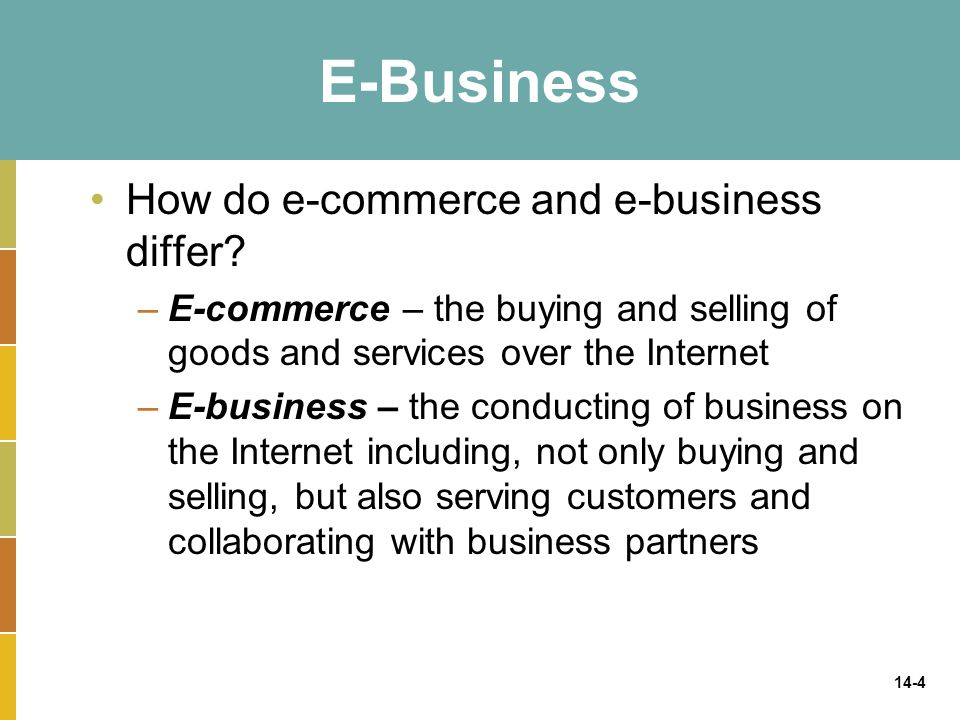14-4 E-Business How do e-commerce and e-business differ? –E-commerce – the buying and selling of goods and services over the Internet –E-business – th