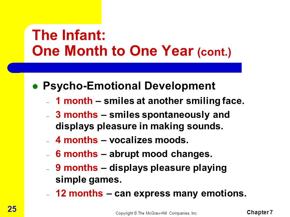 Copyright © The McGraw-Hill Companies, Inc. Chapter 7 24 The Infant: One Month to One Year (cont.) Intellectual-Cognitive Development – 1 month – eye