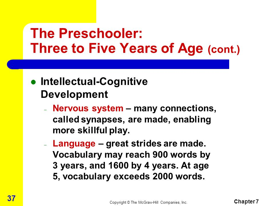 Copyright © The McGraw-Hill Companies, Inc. Chapter 7 36 The Preschooler: Three to Five Years of Age (cont.) – Nighttime bladder and bowel control ach