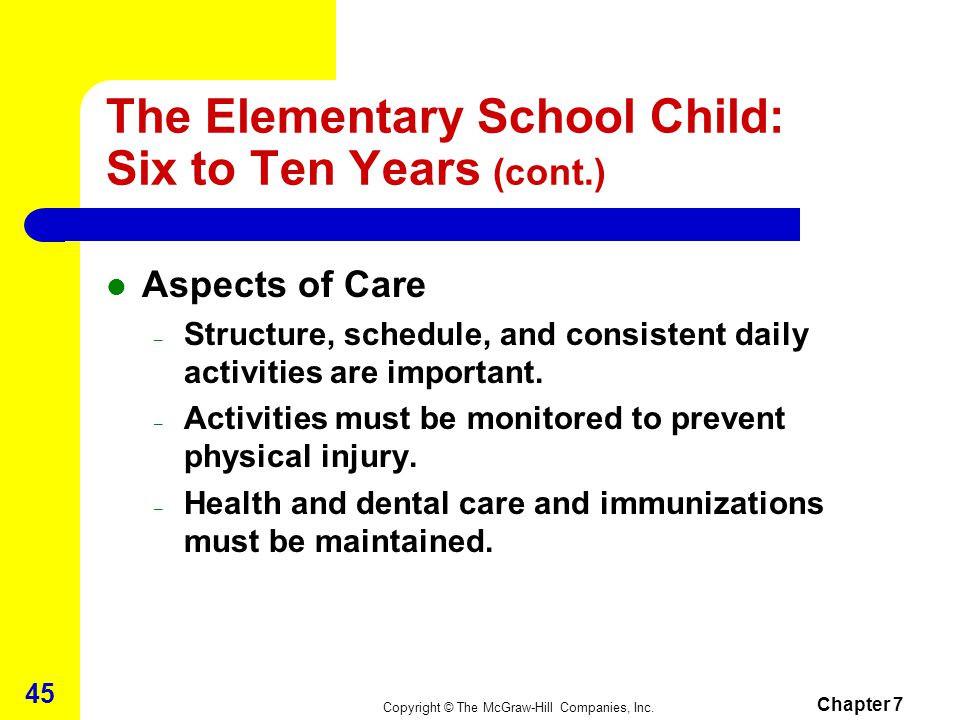 Copyright © The McGraw-Hill Companies, Inc. Chapter 7 44 The Elementary School Child: Six to Ten Years (cont.) Social Development – School becomes ver