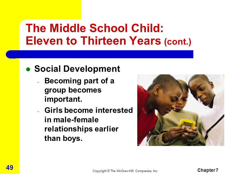 Copyright © The McGraw-Hill Companies, Inc. Chapter 7 48 The Middle School Child: Eleven to Thirteen Years (cont.) Psycho-Emotional Development – Accu