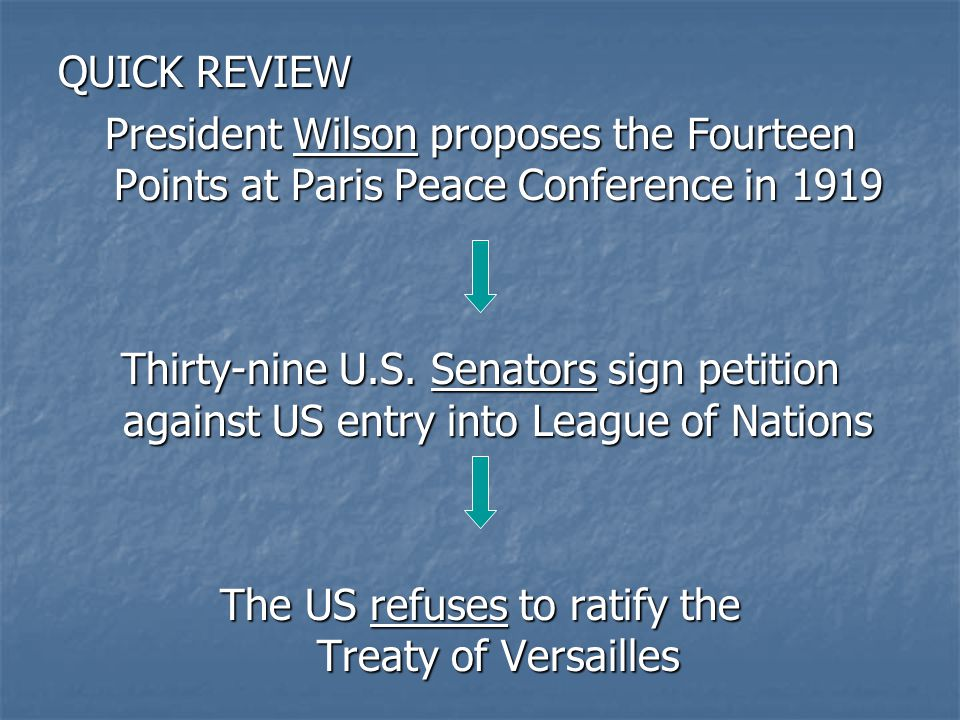 QUICK REVIEW President Wilson proposes the Fourteen Points at Paris Peace Conference in 1919 Thirty-nine U.S.
