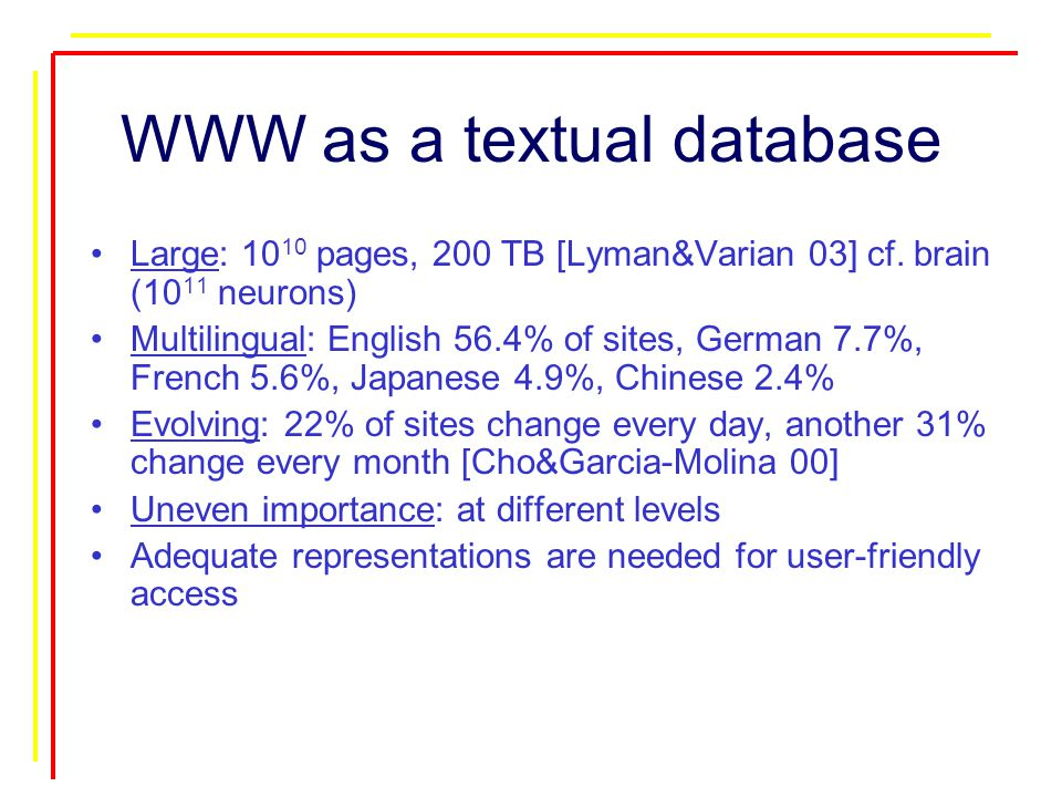 WWW as a textual database Large: 10 10 pages, 200 TB [Lyman&Varian 03] cf.