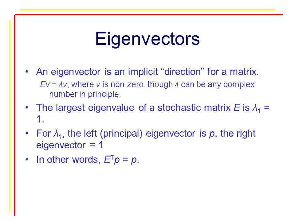 Eigenvectors An eigenvector is an implicit direction for a matrix.
