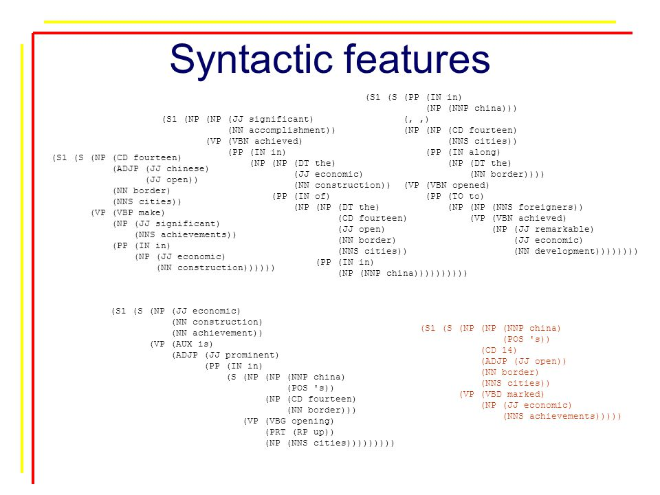 Syntactic features (S1 (S (NP (NP (NNP china) (POS s)) (CD 14) (ADJP (JJ open)) (NN border) (NNS cities)) (VP (VBD marked) (NP (JJ economic) (NNS achievements))))) (S1 (S (NP (CD fourteen) (ADJP (JJ chinese) (JJ open)) (NN border) (NNS cities)) (VP (VBP make) (NP (JJ significant) (NNS achievements)) (PP (IN in) (NP (JJ economic) (NN construction)))))) (S1 (NP (NP (JJ significant) (NN accomplishment)) (VP (VBN achieved) (PP (IN in) (NP (NP (DT the) (JJ economic) (NN construction)) (PP (IN of) (NP (NP (DT the) (CD fourteen) (JJ open) (NN border) (NNS cities)) (PP (IN in) (NP (NNP china)))))))))) (S1 (S (PP (IN in) (NP (NNP china))) (,,) (NP (NP (CD fourteen) (NNS cities)) (PP (IN along) (NP (DT the) (NN border)))) (VP (VBN opened) (PP (TO to) (NP (NP (NNS foreigners)) (VP (VBN achieved) (NP (JJ remarkable) (JJ economic) (NN development)))))))) (S1 (S (NP (JJ economic) (NN construction) (NN achievement)) (VP (AUX is) (ADJP (JJ prominent) (PP (IN in) (S (NP (NP (NNP china) (POS s)) (NP (CD fourteen) (NN border))) (VP (VBG opening) (PRT (RP up)) (NP (NNS cities)))))))))