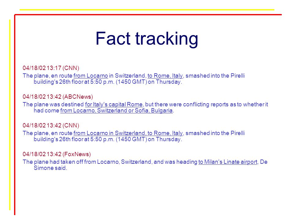 Fact tracking 04/18/02 13:17 (CNN) The plane, en route from Locarno in Switzerland, to Rome, Italy, smashed into the Pirelli building s 26th floor at 5:50 p.m.