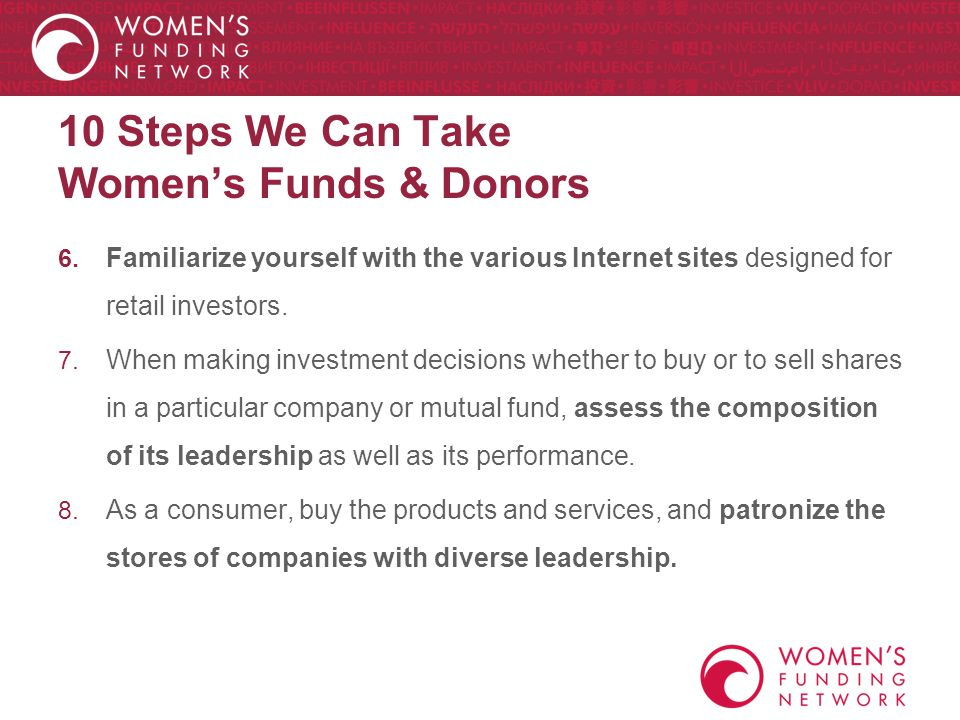 10 Steps We Can Take Women's Funds & Donors 6.