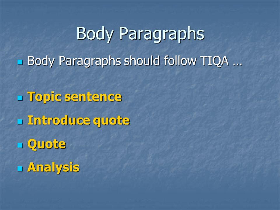 Body Paragraphs Follow TIQA