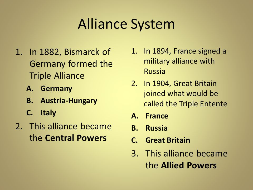 Alliance System 1.In 1882, Bismarck of Germany formed the Triple Alliance A.Germany B.Austria-Hungary C.Italy 2.This alliance became the Central Powers 1.In 1894, France signed a military alliance with Russia 2.In 1904, Great Britain joined what would be called the Triple Entente A.France B.Russia C.Great Britain 3.This alliance became the Allied Powers