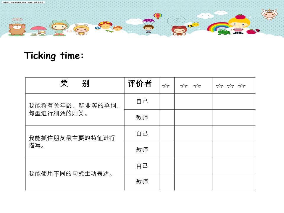 类 别 评价者 我能将有关年龄、职业等的单词、 句型进行细致的归类。 自己 教师 我能抓住朋友最主要的特征进行 描写。 自己 教师 我能使用不同的句式生动表达。 自己 教师 Ticking time: