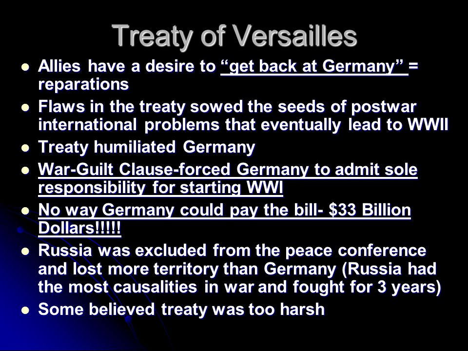 was the treaty of versailles too