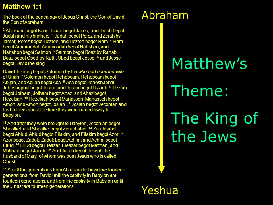 Matthew 1:1 The book of the genealogy of Jesus Christ, the Son of David, the Son of Abraham: 2 Abraham begot Isaac, Isaac begot Jacob, and Jacob begot Judah and his brothers.