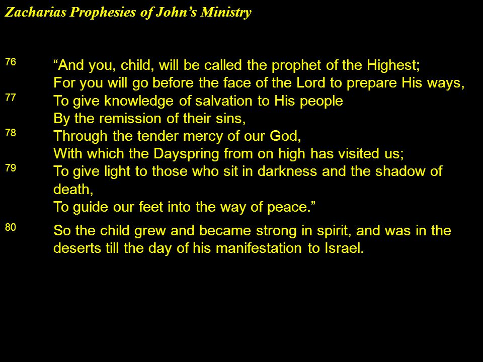 Zacharias Prophesies of John's Ministry 76 And you, child, will be called the prophet of the Highest; For you will go before the face of the Lord to prepare His ways, 77 To give knowledge of salvation to His people By the remission of their sins, 78 Through the tender mercy of our God, With which the Dayspring from on high has visited us; 79 To give light to those who sit in darkness and the shadow of death, To guide our feet into the way of peace. 80 So the child grew and became strong in spirit, and was in the deserts till the day of his manifestation to Israel.