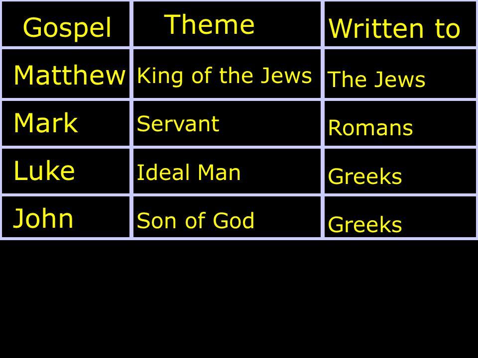 Gospel Matthew Mark Luke John Theme King of the Jews Servant Ideal Man Son of God Written to The Jews Romans Greeks