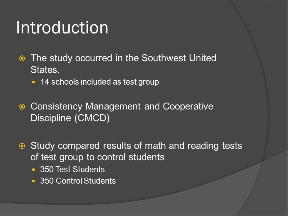 Introduction  The study occurred in the Southwest United States.