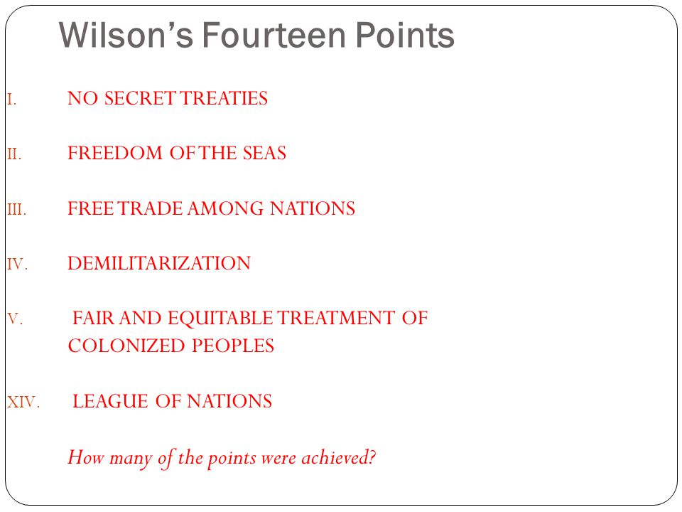 Wilson's Fourteen Points I.