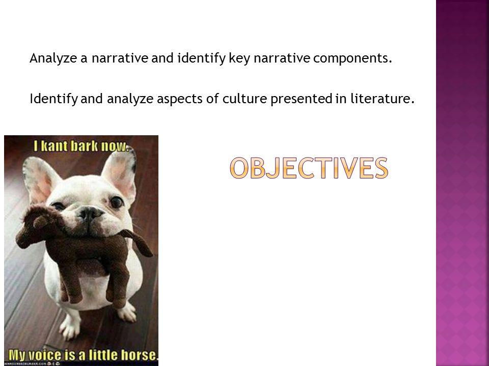 Analyze a narrative and identify key narrative components.