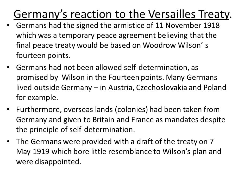 Germany's reaction to the Versailles Treaty.
