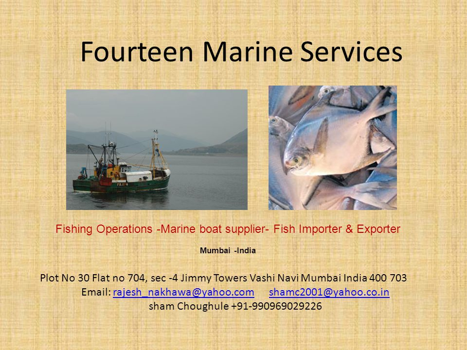 Fourteen Marine Services Fishing Operations -Marine boat supplier- Fish Importer & Exporter Mumbai -India Plot No 30 Flat no 704, sec -4 Jimmy Towers Vashi Navi Mumbai India 400 703 Email: rajesh_nakhawa@yahoo.com shamc2001@yahoo.co.inrajesh_nakhawa@yahoo.comshamc2001@yahoo.co.in sham Choughule +91-990969029226