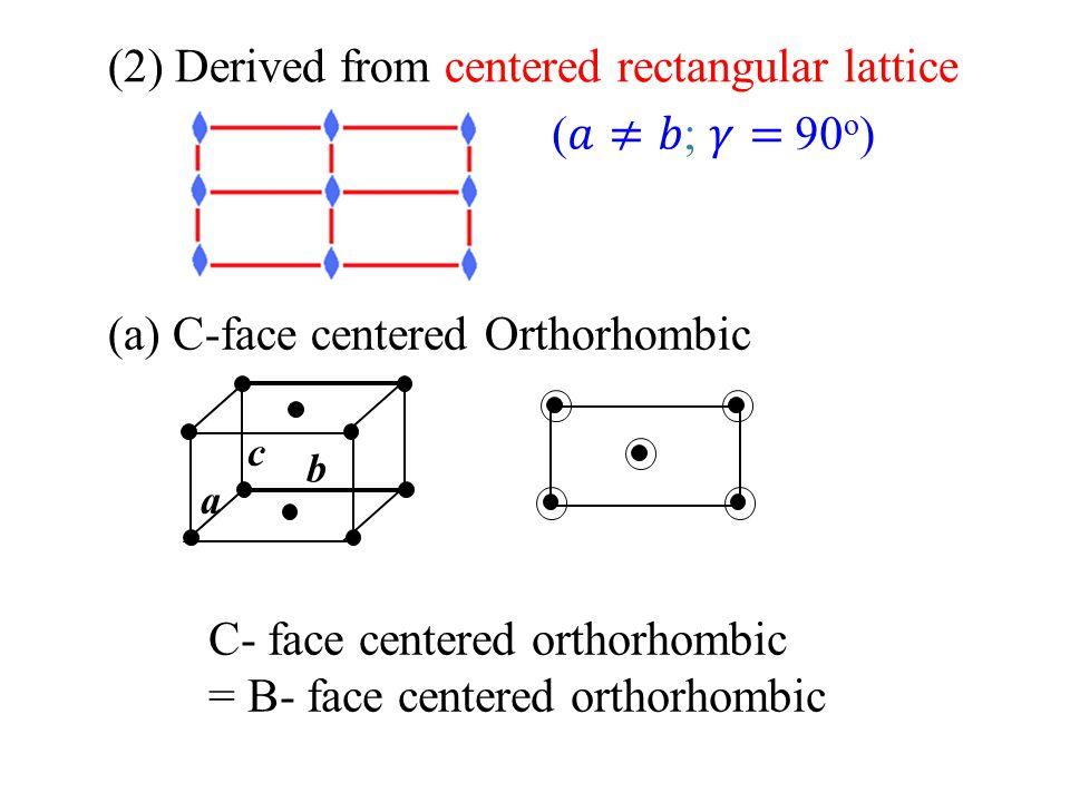 (2) Derived from centered rectangular lattice (a) C-face centered Orthorhombic a b c C- face centered orthorhombic = B- face centered orthorhombic