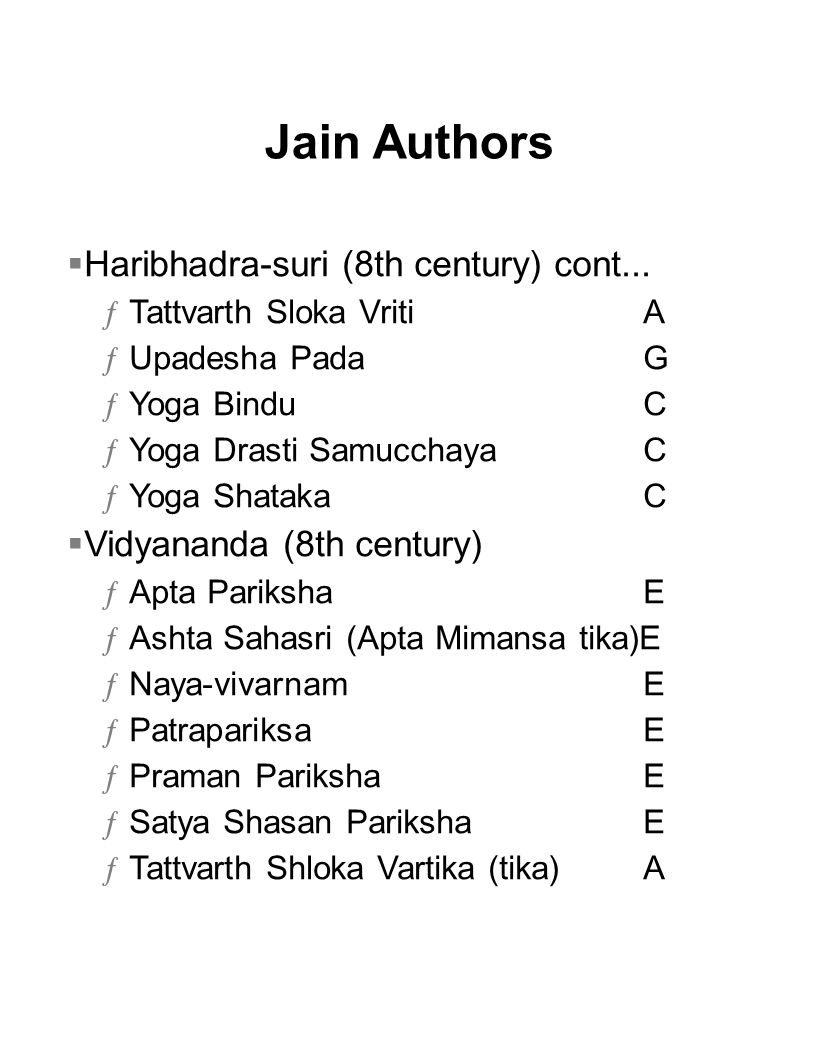 Jain Authors  Haribhadra-suri (8th century) cont...