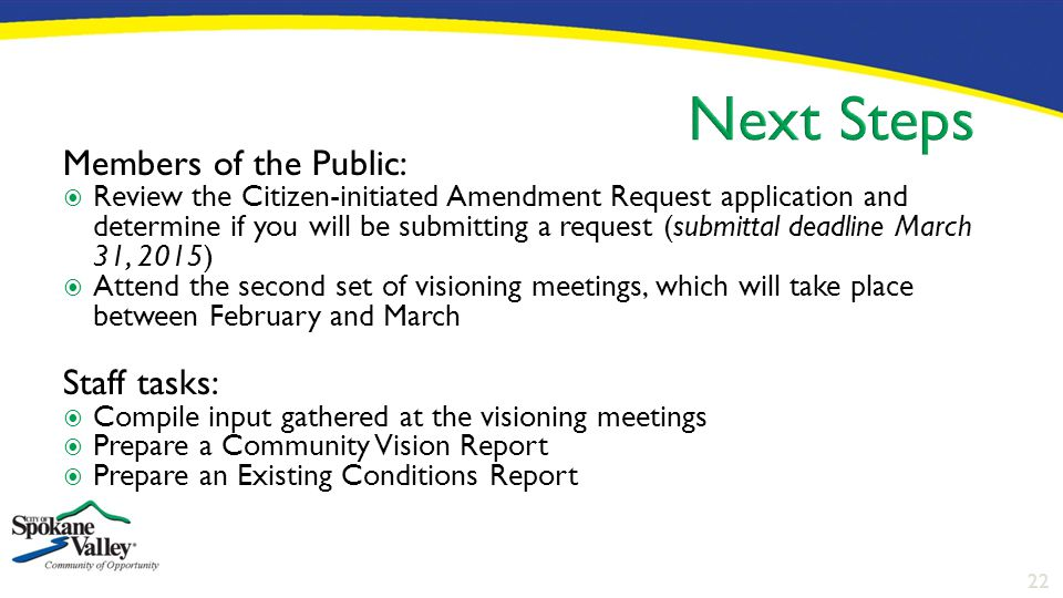 22 Members of the Public:  Review the Citizen-initiated Amendment Request application and determine if you will be submitting a request (submittal de