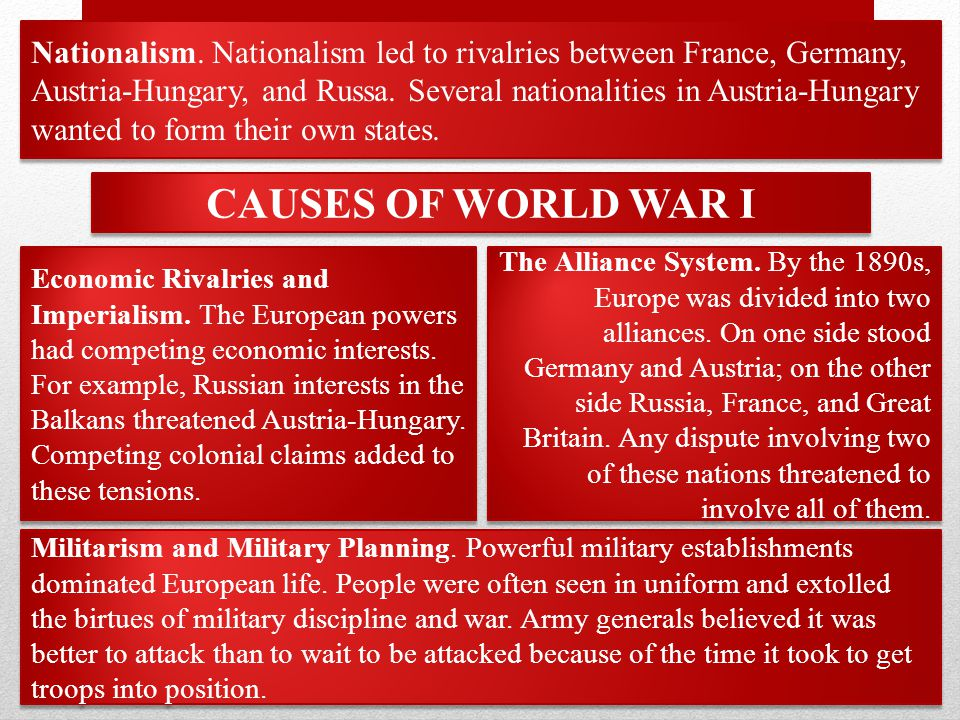 Nationalism. Nationalism led to rivalries between France, Germany, Austria-Hungary, and Russa.