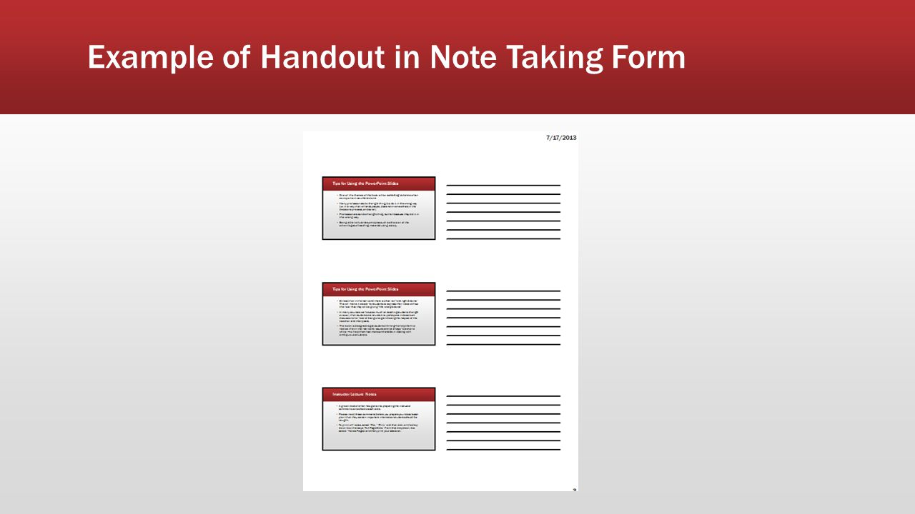 Example of Handout in Note Taking Form