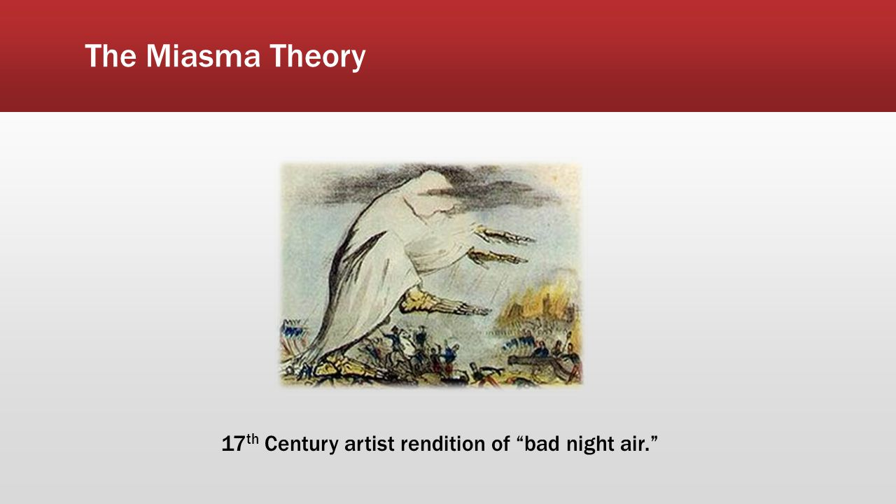 "The Miasma Theory 17 th Century artist rendition of ""bad night air."""