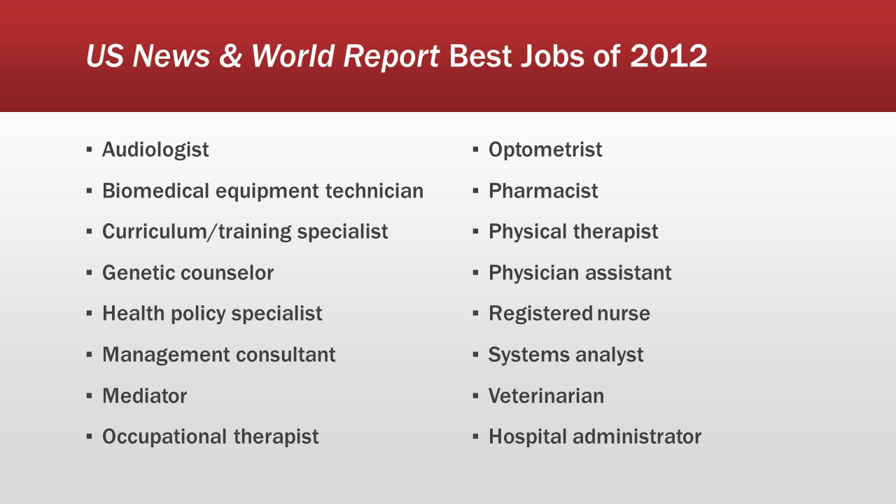 US News & World Report Best Jobs of 2012 ▪ Audiologist ▪ Biomedical equipment technician ▪ Curriculum/training specialist ▪ Genetic counselor ▪ Health