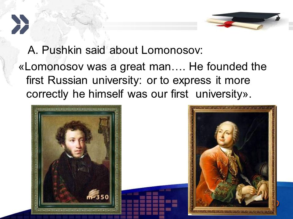 Add your company slogan LOGO www.themegallery.com M.V.Lomonosov made many important discoveries in different fields of science: physics, chemistry, astronomy.