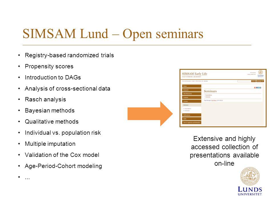 SIMSAM Lund – Open seminars Registry-based randomized trials Propensity scores Introduction to DAGs Analysis of cross-sectional data Rasch analysis Bayesian methods Qualitative methods Individual vs.