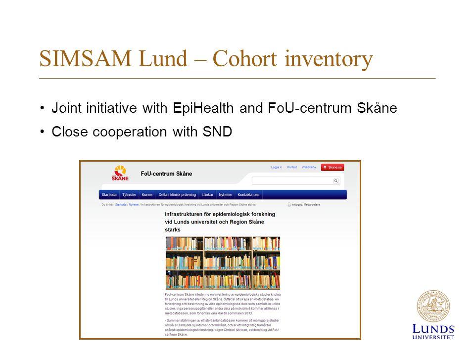 SIMSAM Lund – Cohort inventory (cont.)