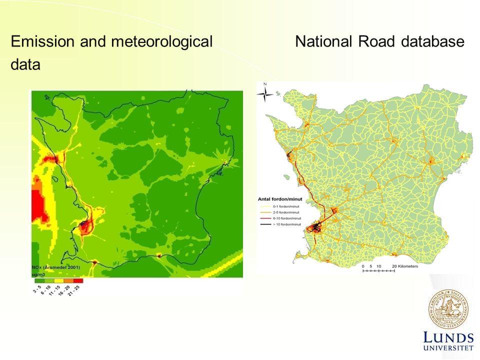 Emission and meteorological National Road database data