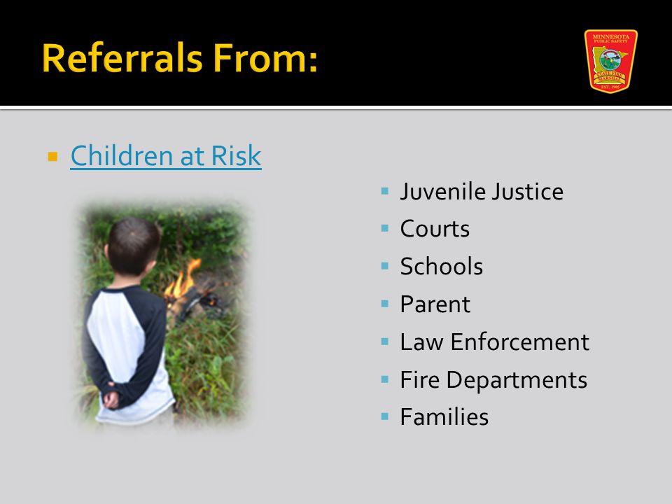  Children at Risk Children at Risk  Juvenile Justice  Courts  Schools  Parent  Law Enforcement  Fire Departments  Families