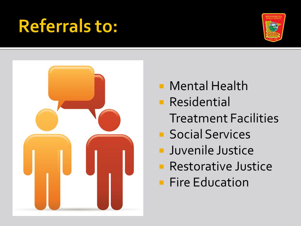  Mental Health  Residential Treatment Facilities  Social Services  Juvenile Justice  Restorative Justice  Fire Education