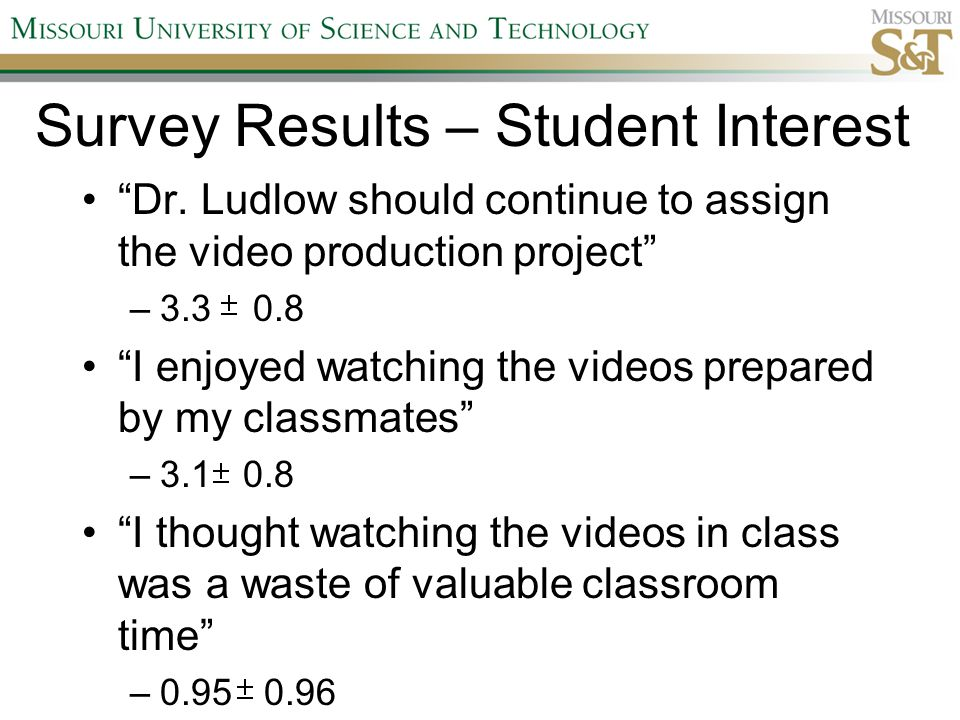 "Survey Results – Student Interest ""Dr. Ludlow should continue to assign the video production project"" –3.3 0.8 ""I enjoyed watching the videos prepared"