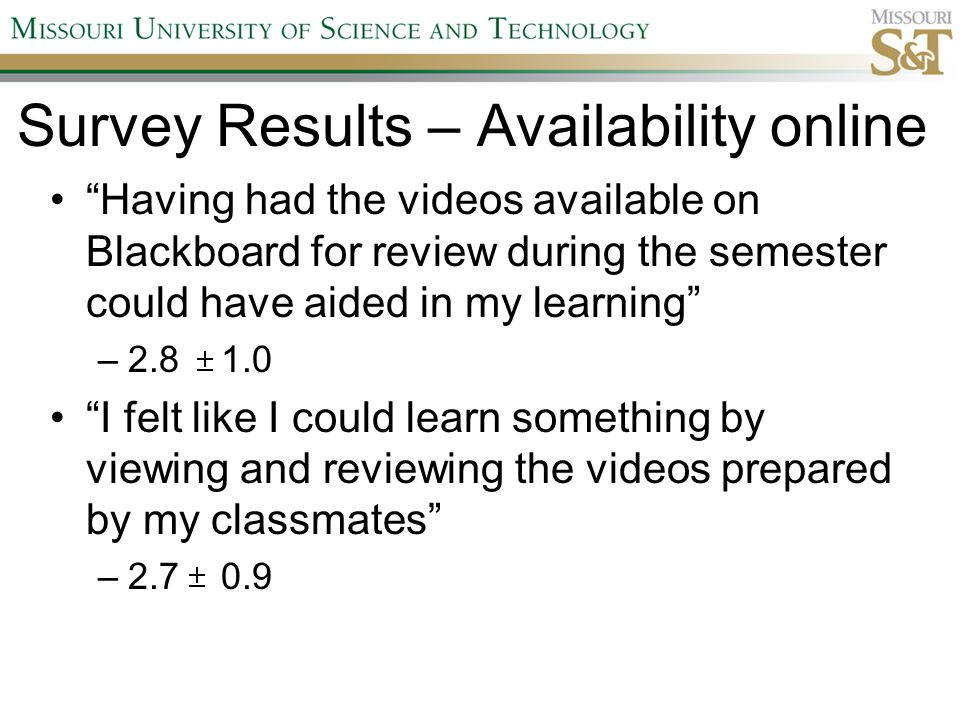 Survey Results – Availability online Having had the videos available on Blackboard for review during the semester could have aided in my learning –2.8 1.0 I felt like I could learn something by viewing and reviewing the videos prepared by my classmates –2.7 0.9