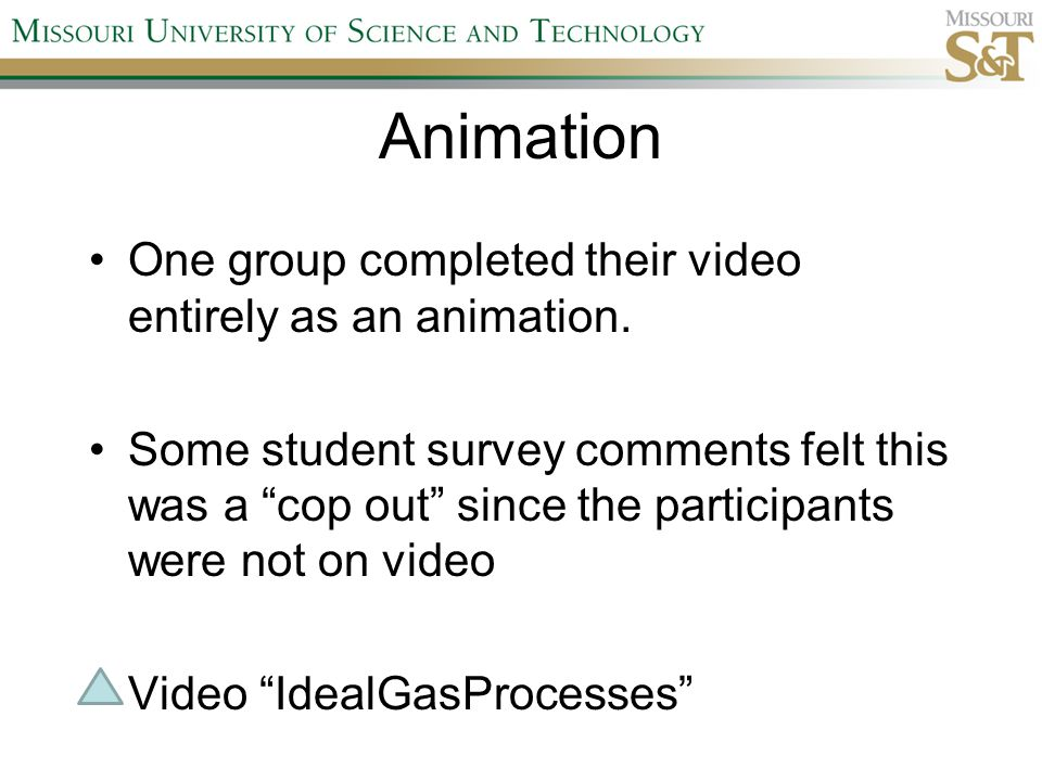 Animation One group completed their video entirely as an animation.