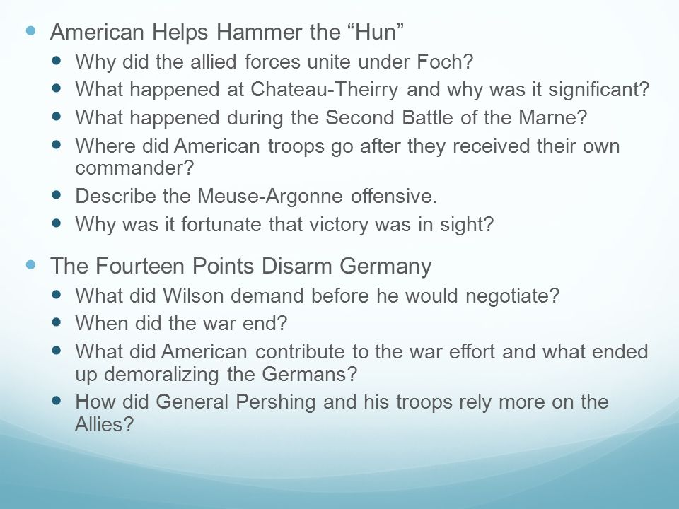 American Helps Hammer the Hun Why did the allied forces unite under Foch.