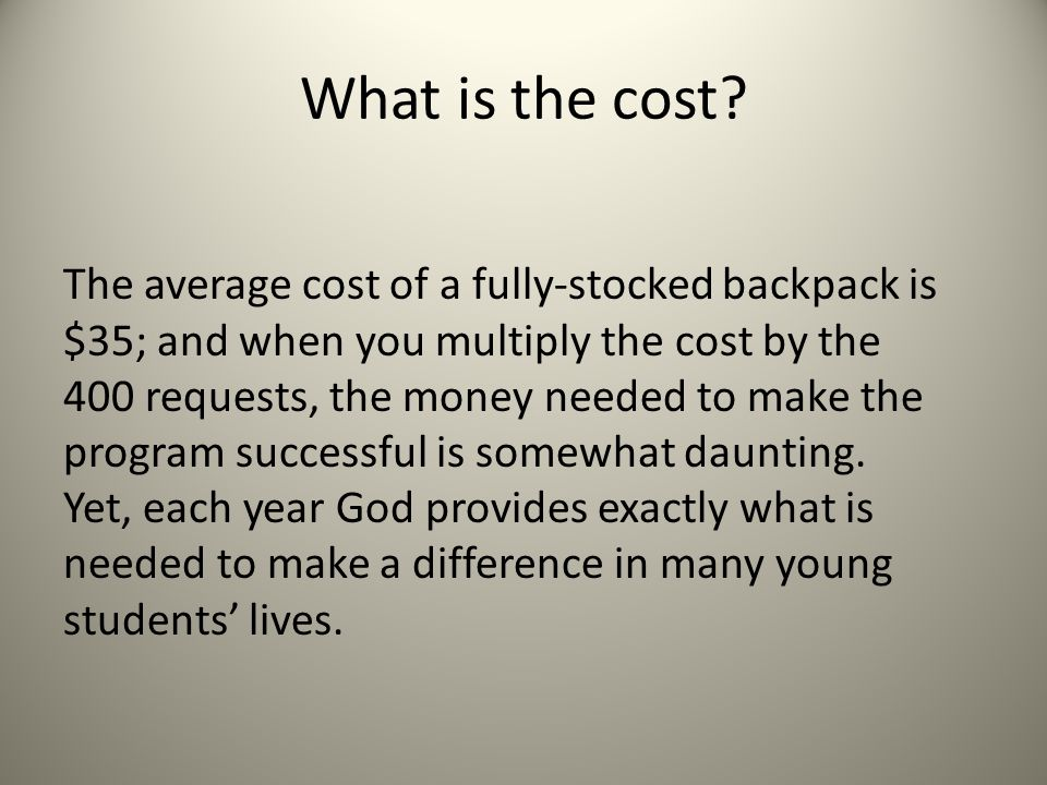 What is the cost.