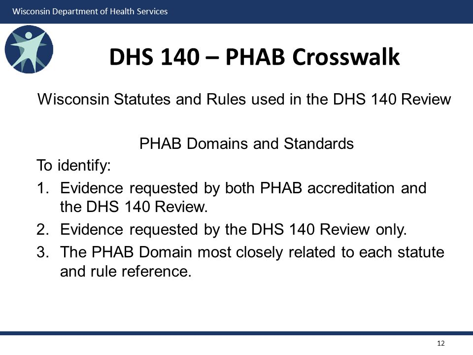 Wisconsin Department of Health Services DHS 140 – PHAB Crosswalk Wisconsin Statutes and Rules used in the DHS 140 Review PHAB Domains and Standards To identify: 1.Evidence requested by both PHAB accreditation and the DHS 140 Review.