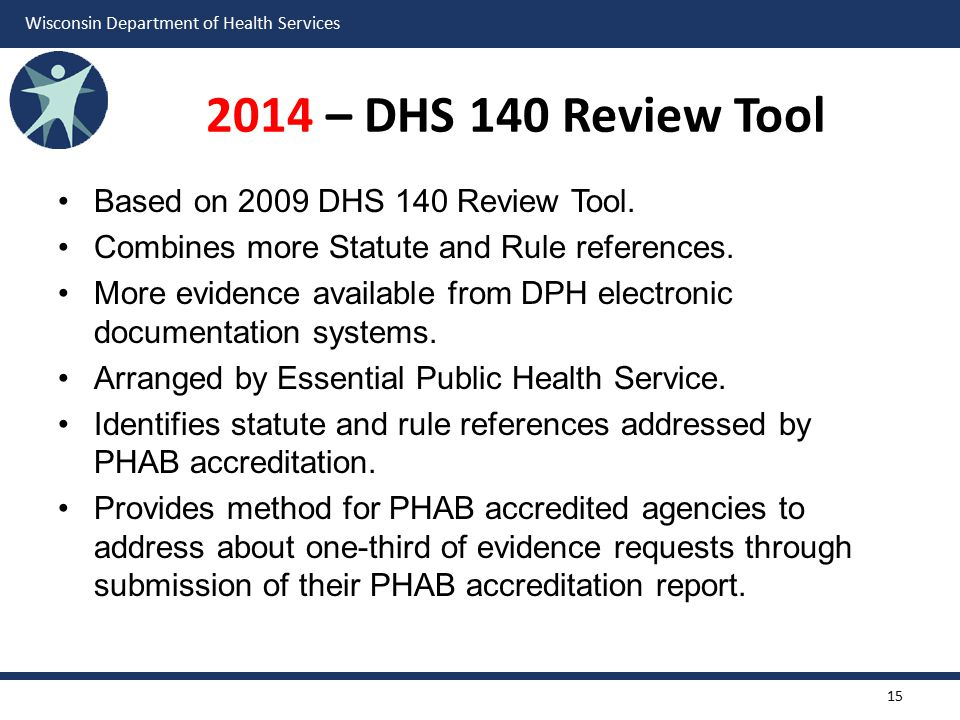 Wisconsin Department of Health Services 2014 – DHS 140 Review Tool Based on 2009 DHS 140 Review Tool.