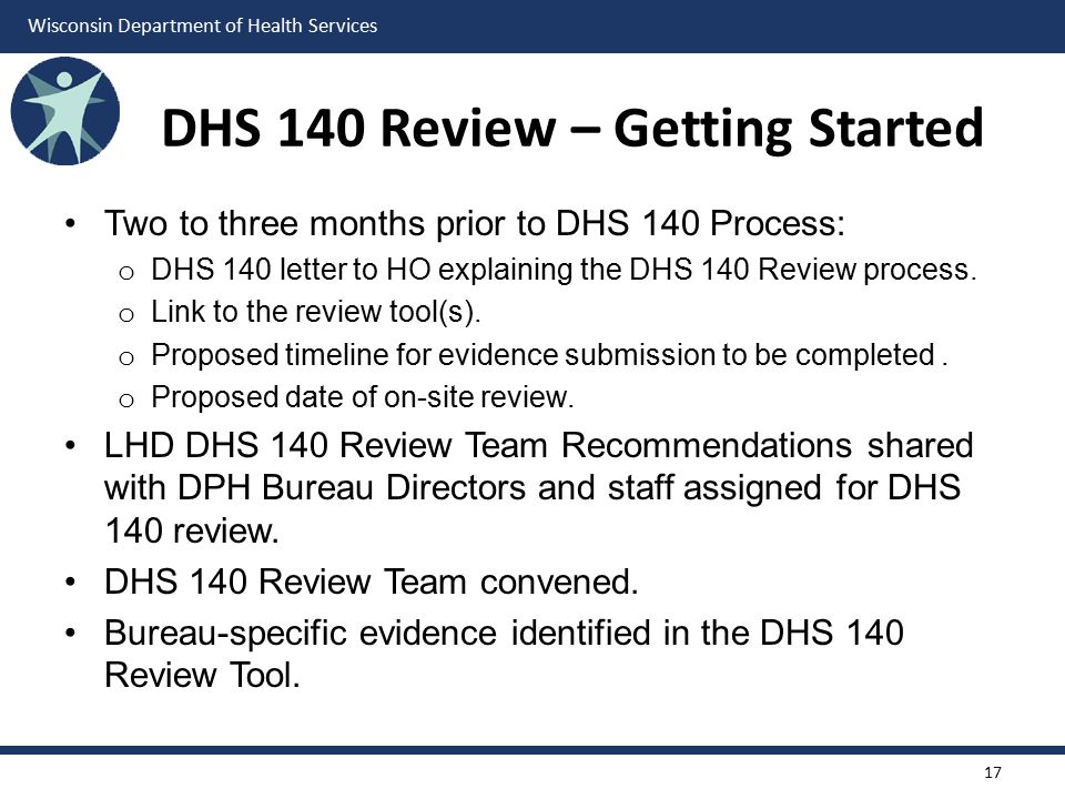 Wisconsin Department of Health Services DHS 140 Review – Getting Started Two to three months prior to DHS 140 Process: o DHS 140 letter to HO explaining the DHS 140 Review process.