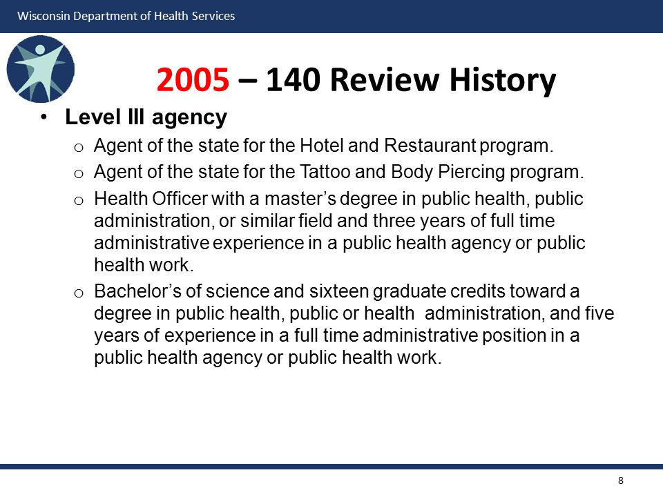 Wisconsin Department of Health Services 2005 – 140 Review History Level III agency o Agent of the state for the Hotel and Restaurant program.