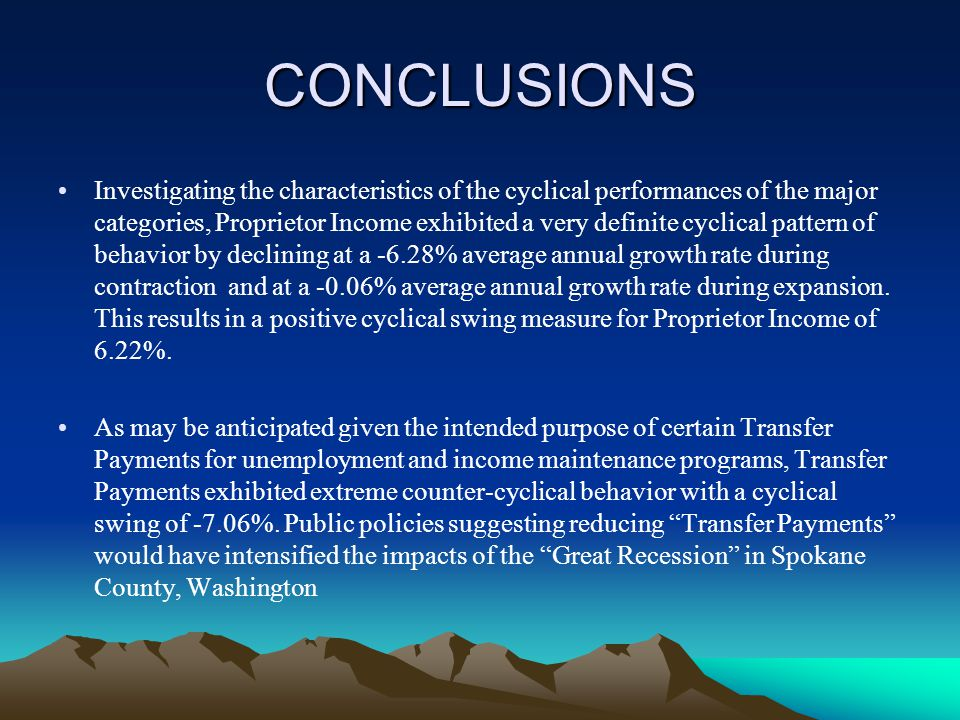 CONCLUSIONS Investigating the characteristics of the cyclical performances of the major categories, Proprietor Income exhibited a very definite cyclical pattern of behavior by declining at a -6.28% average annual growth rate during contraction and at a -0.06% average annual growth rate during expansion.